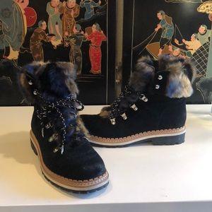 Sam Edelman Black/Tan Faux Fur Boots 8